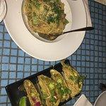 Fish tacos and spaghetti