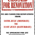 We are closed on the 16 to 21 July 2017 for upgrade works