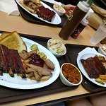Family dinner of ribs, brisket and pulled pork!