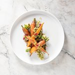 Roasted Carrot Salad with freekeh and pomegranate