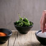 Padron peppers with espelette and Maldon sea salt