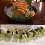 Salmon Sashimi and Caterpillar Roll