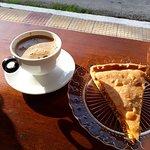 Greek coffee and chicken pie