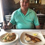 Entree' of grilled redfish (lunch $14) and the cheesy shrimp & grits (lunch $12)