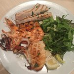 Mixed grilled fish- swordfish, cuttlefish prawns, and mixed salad