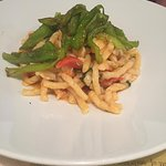 Fusilli pasta with sweet green peppers