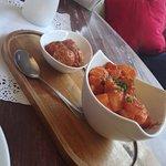 Lamb meatballs and patatas bravas