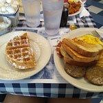 Oatmeal, SOS, 1/2 waffle, and one egg bfast