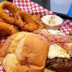 Bacon cream cheese burger with onion rings & french onion dip
