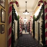 The hallway decorated for Christmas.