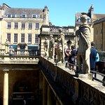 Statues around bath