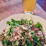Side salad and local beer to start.