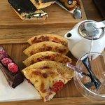 Pizza, Chocolate Raspberry Cake, and a pot of tea