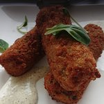 Sweet potato and zucchini croquettes with spring onion, cumin and sumac sauce