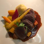 venison with estate vegetables & chocolate