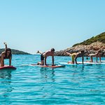 yoga on paddleboards