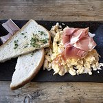 Scrambled Eggs Served with Parma Ham