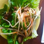 Thai Lettuce cup with spicy pork and asian slaw
