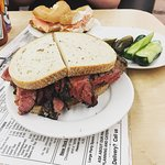 Pastrami Sandwich and Salmon Bagel