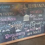 Our daily specials board. We have new specials every month. Be sure to check them out!