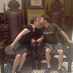 Sharing a kiss in the Laird's chairs.