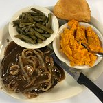 Chopped Steak, String Beans, and Yams and Corn Bread.
