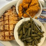 Tasty Grilled Chicken, and Yams, and Green Beans that need Seasoning.