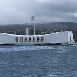 View across Pearl Harbour to the USS Arizona Memorial