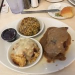 Meatloaf with brown gravy, Broccoli Casserole, Stuffing & gravy