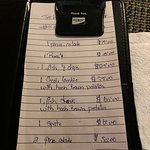 bill for our meal for the evening in EC