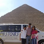 At the Giza Pyramids. The photo was emailed to me by Ahmed of Memphis. Very generous of him.