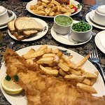 Regular haddock & chips, homemade fish cakes and chips