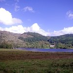 Looking across Loch Achray at the HPB Tigh Mor Trossachs
