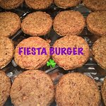 FIESTA BURGER. Handmade high protein Gluten-free six lentil burger 🍔 with rice and vegetable pr