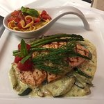 Salmone dell'Osteria Perfectly Grilled Oven Seared Organic Dill-Asparagus-Zucchini Creamy Reduct