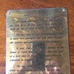 plaque on bar