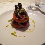 Seared yellow fin tuna and fried tomatoes.