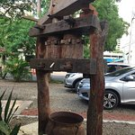 Real trapiche (instrument used to extract sugar from sugar cane) was in font of the restaurant