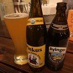 Pinkus Hefe-Weizen and Ayinger Dunkel - both hard to find