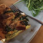 Spinach & Bacon Quiche with an arugula salad