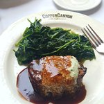 9 oz. hickory grilled tenderloin filet with double order of spinach.