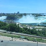 View of the three collective Niagara Falls from our hotel room.
