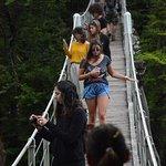 Bridge crossing the Soca River on our way to Kozjak Waterfall