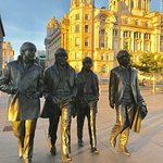 Beatles Statue at sunset