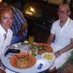 Garlic prawns & spaghetti octopus, excellent
