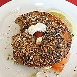 salmon and cream bagel