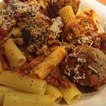 Rigatoni with meat sauce and meatballs