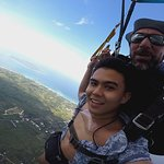 He made me try to steer the parachute.