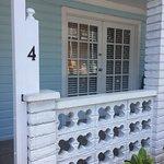 Peach palm room front door/porch