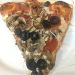 Pepporoni, black olives and mushrooms.